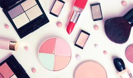 Cosmetics banner collection set. Decorative cosmetics set collection laying on white background flat view Stock Photos