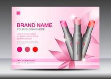 Cosmetics Banner design Template vector illustration, lipstick mask bottle isolated, Brochure flyer, product design, advertisement. Layout, poster, card, web stock illustration