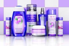 Cosmetics on bathroom shelf Stock Photo
