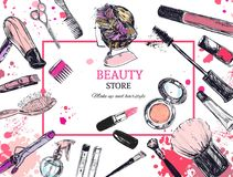Cosmetics and beauty background with make up artist and hairdressing objects: lipstick, cream, brush. With place for your text . Template Vector Stock Photography