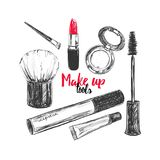 Cosmetics and beauty background with make up artist and hairdressing objects: lipstick, cream, brush. With place for your text .Te. Mplate Vector Stock Photo