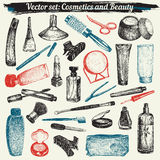 Cosmetics And Beauty Doodles Set Vector royalty free illustration