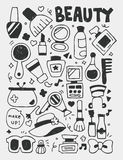 Cosmetics beauty elements doodles hand drawn line icon, eps10 Royalty Free Stock Photography