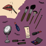 Cosmetics, beauty, fashion sketch. Draw Stock Photo
