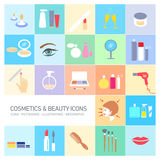 Cosmetics and beauty icons set Stock Images