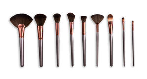 Cosmetics, beauty, make-up brushes set in row Royalty Free Stock Photography