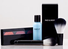 Cosmetics beauty make up kit. Professional cosmetics beauty make up kit with nice reflection royalty free stock photos