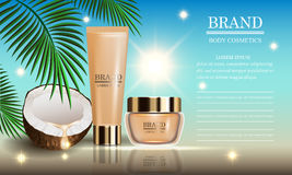 Cosmetics beauty marine summer series, premium coconut oil cream for suntan and skin care. Vector illustration. Cosmetics beauty marine summer series, premium Stock Image