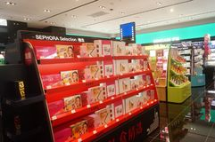 Shenzhen, China: sales shop for cosmetics and beauty products Royalty Free Stock Photo