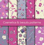 Cosmetics and beauty seamless patterns Stock Images
