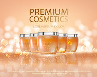 Cosmetics beauty series, ads of premium body spray cream for skin care. Template for design poster, placard. Cosmetics glass bottle mockup for ads or magazine of Stock Images