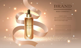 Cosmetics beauty series, ads of premium collagen oil, body cream for skin and ribbon, vector illustration Royalty Free Stock Photos