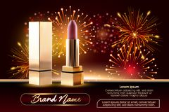 Cosmetics beauty series, ads of premium female lipstick for skin care. Template for design poster, placard, presentation stock illustration