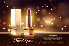 Cosmetics beauty series, ads of premium female lipstick for skin care. Template for design poster, placard, presentation royalty free illustration