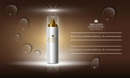 Cosmetics beauty series, ads of premium spray cream for skin care. Template for design banners, vector illustration. Royalty Free Stock Images
