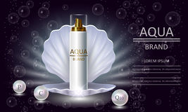 Cosmetics beauty series, premium body Pearl Spray packaging for skin care. Template for design banners, vector illustration. Royalty Free Stock Photos