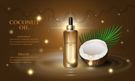 Cosmetics beauty series, premium coconut oil cream for skin care. Template for design poster, banners, vector illustration. Royalty Free Stock Photo