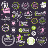 Cosmetics and beauty signs and elements set Royalty Free Stock Image