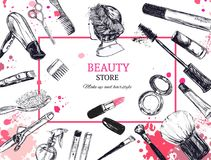 Cosmetics and beauty vector background with make up artist and hairdressing objects: lipstick, cream, brush. With place for your t. Cosmetics and beauty Stock Photo