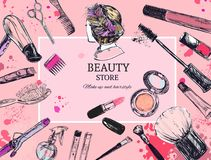 Cosmetics and beauty vector background with make up artist and hairdressing objects: lipstick, cream, brush. With place for your t. Cosmetics and beauty Stock Image