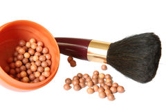 Cosmetics. Blusher and brush Royalty Free Stock Images
