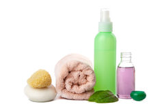 Cosmetics and body care products isolated Royalty Free Stock Images
