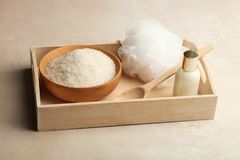 Cosmetics for body care, washcloth and sea salt stock photos