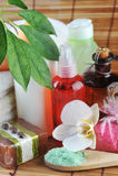 Cosmetics for  body on  straw napkin Royalty Free Stock Photos