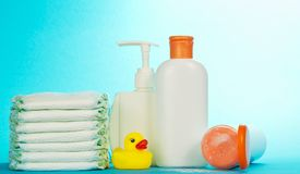 Cosmetics bottle for care and diapers Royalty Free Stock Photo