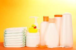 Cosmetics bottle for care of newborn and diapers Stock Photo