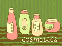 Cosmetics bottle set Stock Photography