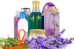 Cosmetics bottles Stock Photos