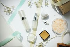 Cosmetics bottles container, Beauty gift set for sale promotion. Royalty Free Stock Photography
