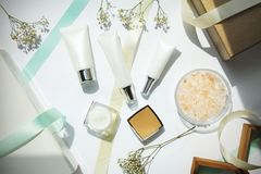 Cosmetics bottles container, Beauty gift set for sale promotion. stock image