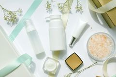 Cosmetics bottles container, Beauty gift set for sale promotion. stock photos