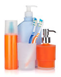 Cosmetics bottles, toothbrushes and liquid soap Stock Images