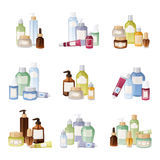 Cosmetics bottles vector illustration. Royalty Free Stock Photos