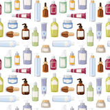 Cosmetics bottles vector seamless pattern illustration. Royalty Free Stock Photography