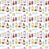 Cosmetics bottles vector seamless pattern illustration. Stock Images
