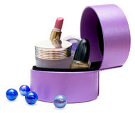Cosmetics in box (purple) Royalty Free Stock Image