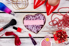 Cosmetics, box and shoes. Royalty Free Stock Photo