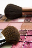 Cosmetics and brushes Royalty Free Stock Image