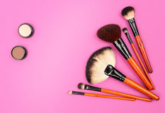 Cosmetics and brushes Royalty Free Stock Photography