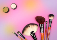 Cosmetics and brushes Stock Photo