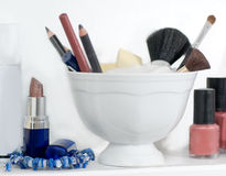 Cosmetics and brushes Royalty Free Stock Photos