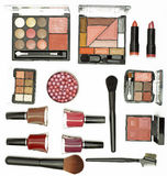Cosmetics brushes and accessories Stock Photos