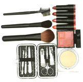 Cosmetics brushes and nail care accessories Royalty Free Stock Image