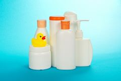 Cosmetics on care of the child Stock Image