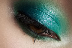 Cosmetics, close-up eye make-up. Fashion eyeshadow Stock Image
