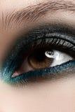 Cosmetics, close-up eye make-up. Fashion eyeshadow Stock Photos